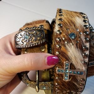 Justin Belt Western Leather Calf Hair Bling Belt
